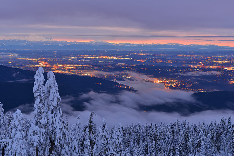 Vancouver viewed from Mount Seymour, Ski Resort, North Vancouver BC, British Columbia