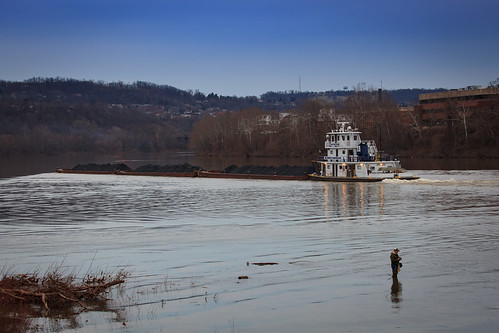 commonwealthpa monongahelariver fishing penna pennsylvania kwtracyghostship winter barge alleghenycounty bluehour westernpa pittsburgh unitedstates us waves serene river coal america americanna evening january monvalley boat fisherman brownwaters