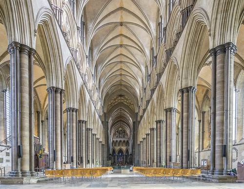 salisbury cathedral wiltshire nave arches architecture windows gothic early english tower spire