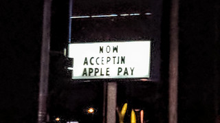 Now Acceptin Apple Pay sign, Burbank, California, USA | by gruntzooki