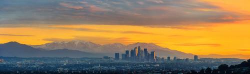 california dtla losangeles mountains orange snow snowjoke winter skyline snowcapped sunrise unitedstates us