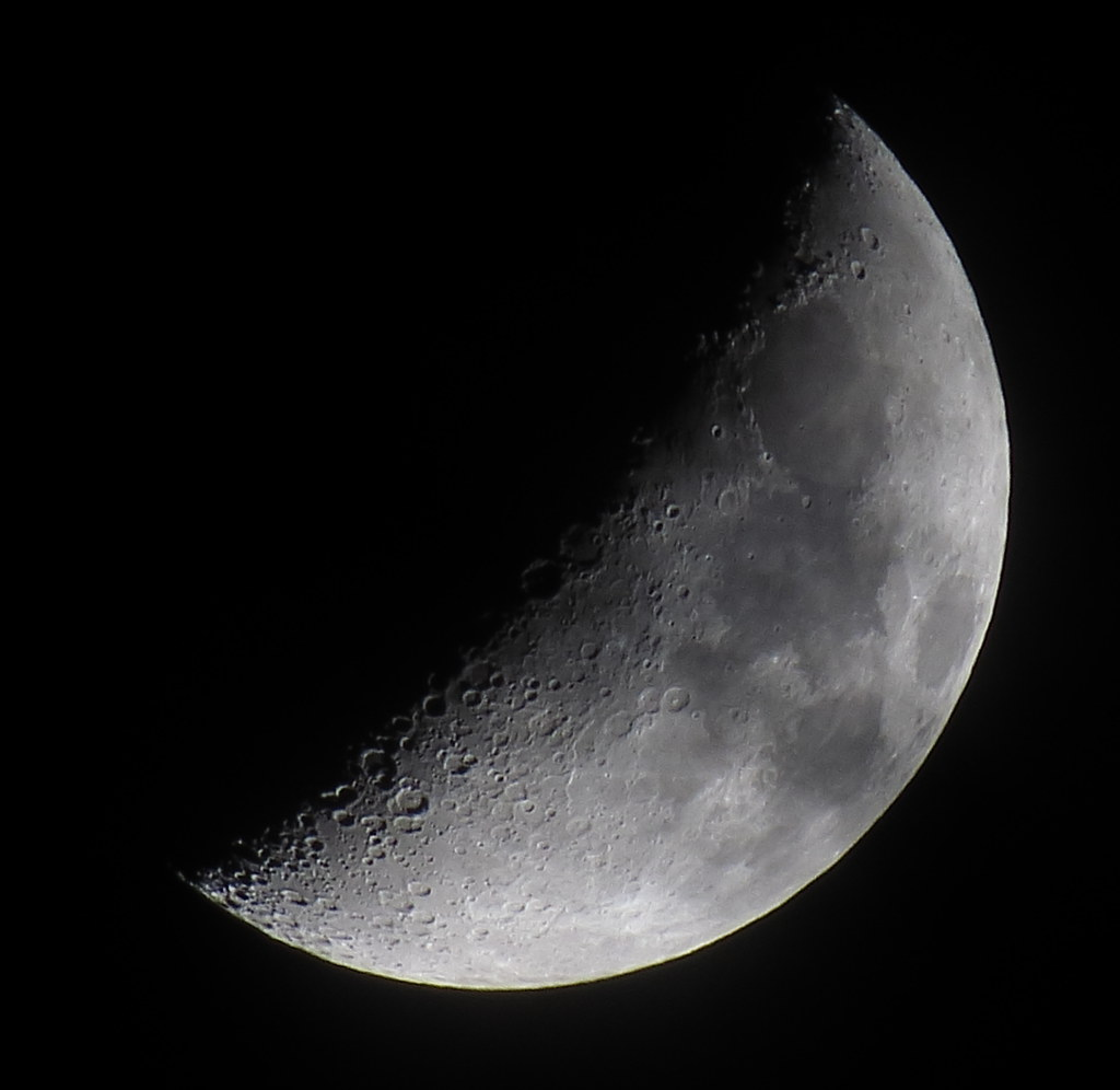 Waxing Crescent, 41% of the Moon with some Passing Clouds is Illuminated on a Mostly Cloudy October 19, 2015 IMG_3881
