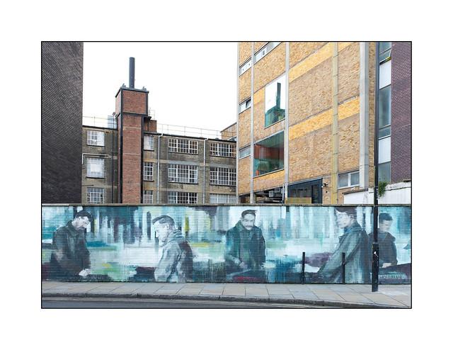 Street Art (Wasp Elder & Helen Bur), East London, England.