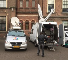 CNBC bij het Binnenhof. Er is meer internationale pers dan bij andere verkiezingen.