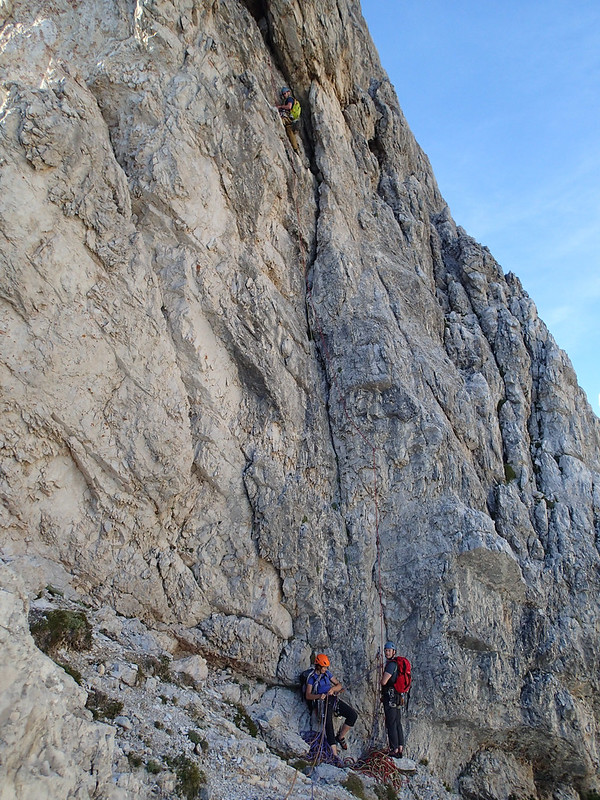 Sat, 2015-08-29 17:38 - Belayed by Tony.  Michelle on left on the same belay ledge.