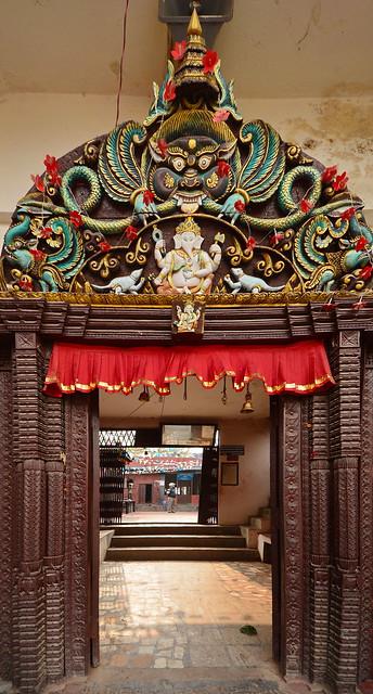 Nepal - Bungamati - Karya Binayak Temple - Door With Ganesha