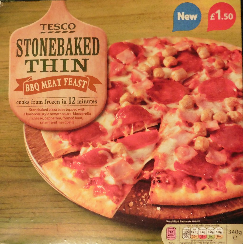 Tesco Stonebaked Thin Bbq Meat Feast Pizza Although I May