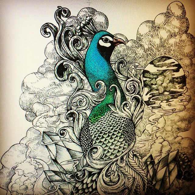 Coloring is so much fun!!!:) #peacock #noahsart #bird #color #photoshop #art #illustration #draw #drawings #artist
