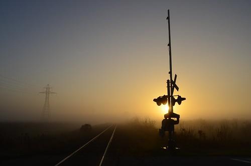 fog rural sunrise nikon niagara rails railwaycrossing railwaytracks hydrotower nikkor1855mm sooc boombarrier d5100 paulboudreauphotography nikond5100