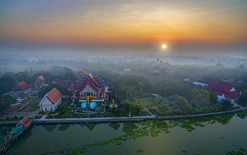 morning sunrise river landscape thailand temple dawn wat riverscape