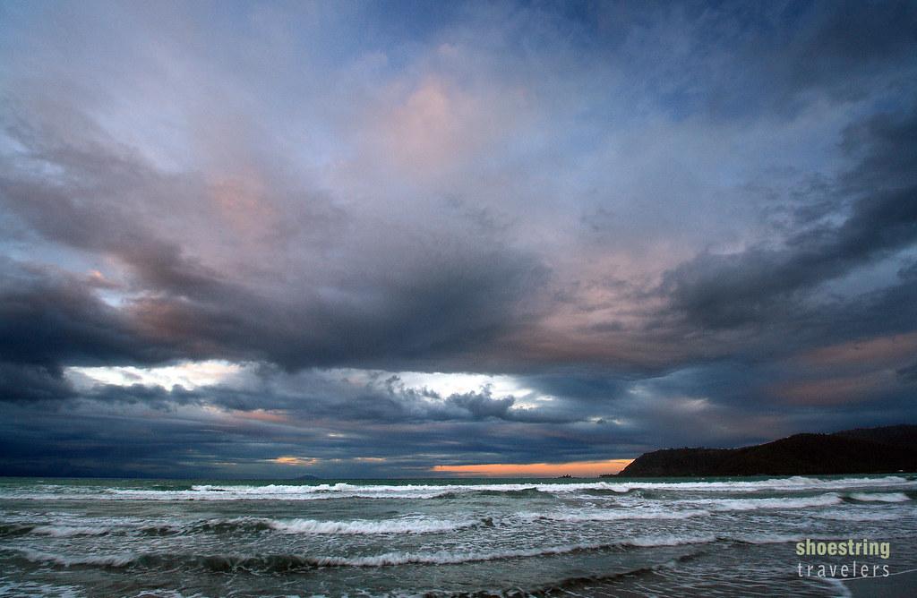cloudy sunset at Sabang Beach, Baler