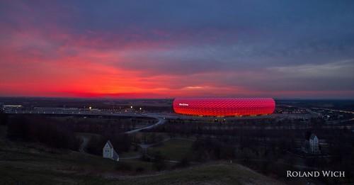 sunset germany munich münchen bayern deutschland bavaria football stadium soccer monaco arena di alemania fc allemagne germania baviera allianz bavière