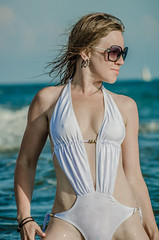 In white swimsuit