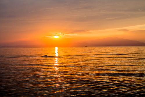 sunset sea summer sky sun water clouds canon island lights colours greece kavala thassos