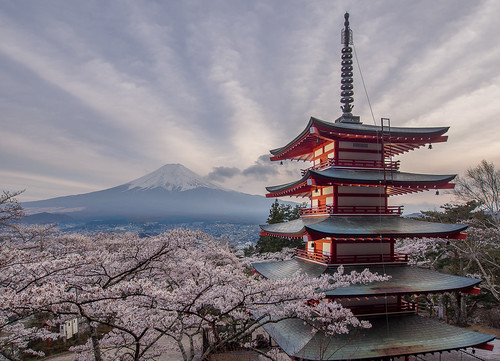 japan sunset asia travel pagoda mount fuji chureito fujiyoshida cherry blossom volcano sakura lpultimate explored