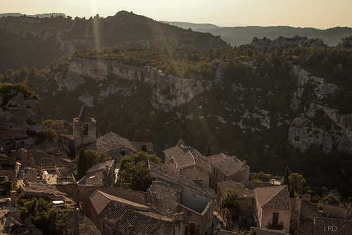 sunset cliff mountain france landscape town cityscape village south paca provence bauxdeprovence