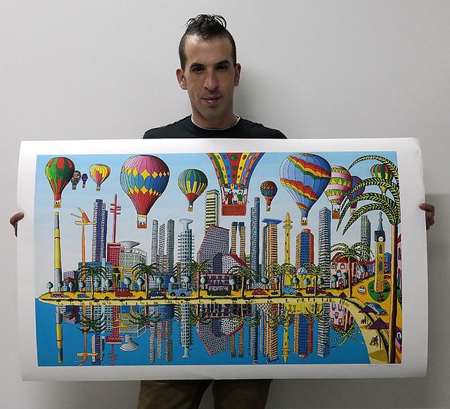 Artista assinada e cópias das pinturas de impressão ingênua assinados contados e numerados Raphael Perez pintor popular colorful imagem imagens grandes