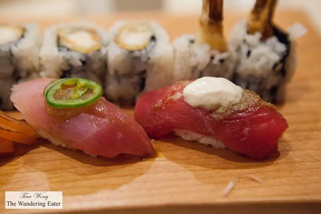 Yellowtail with jalapeno sushi, Tuna with tofu sauce sushi