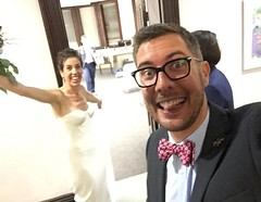 Backstage antics at the #bleasworths wedding. Bride one in the fore bride two strolling up in the back.