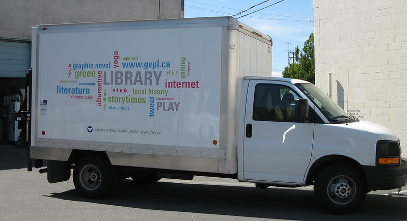 Library shuttle vehicle graphics