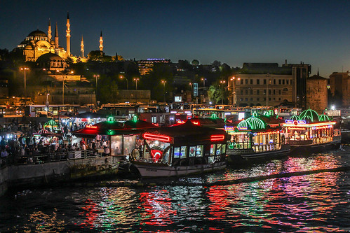 istanbul travel turkey boat mosque night reflection river water