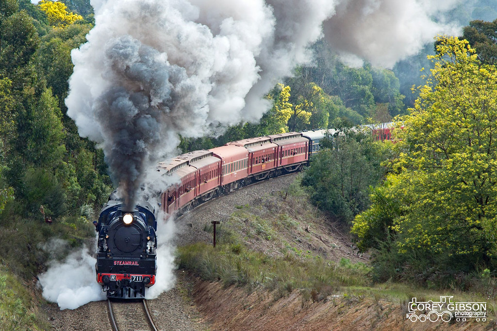 Steamrail Snow train begins the climb up through the Haunted Hills near Moe by Corey Gibson