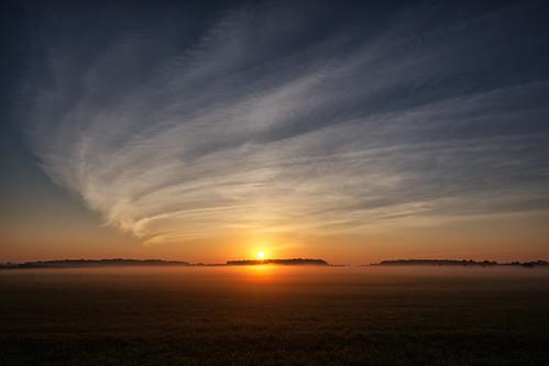 ca sky sun mist ontario canada field fog clouds sunrise farm elmira countryroad cirrus markheine