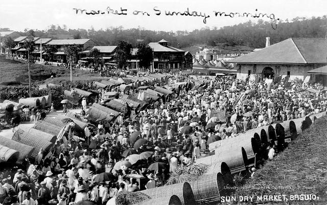 Market on Sunday morning, Baguio, Philippines, 1928