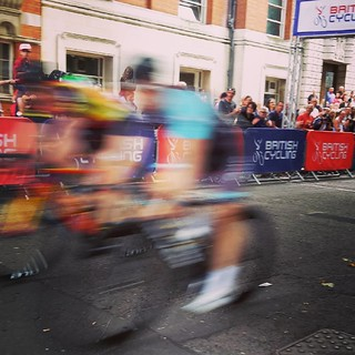 This is what it looks like when cyclists whizz past you on the finish line. Ooh yer date.