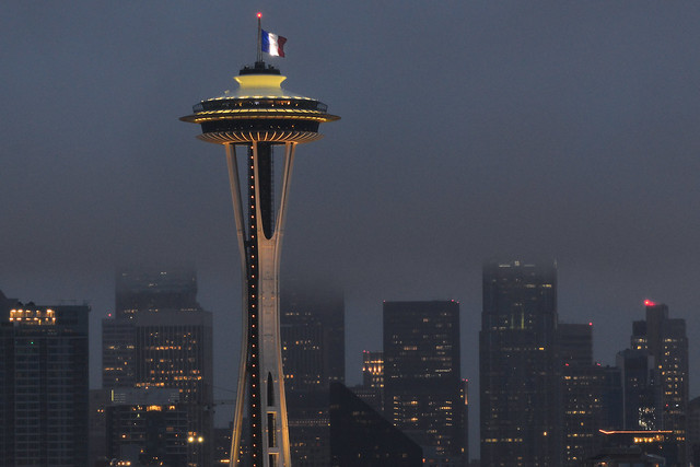 Seatte Space Needle Flies French Flag -- #ParisAttacks