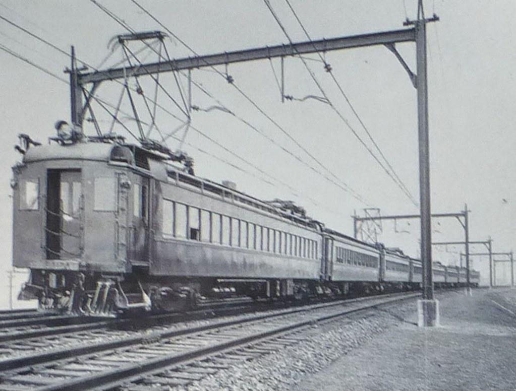 Lackawanna Railroad electric train in Meadows, July 1930 Lackawanna Railroad press photo