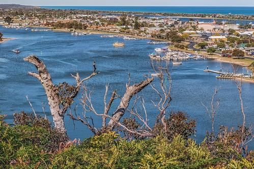 landscape lakesentrance victoria gippsland lakes waterways sandspit bassstrait lookout town boating ocean