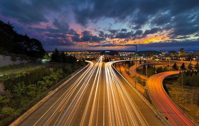 Seattle Freeway Light Trails