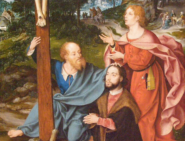 Joos van Cleve and a collaborator, The Crucifixion with Saints and a Donor, c 1520