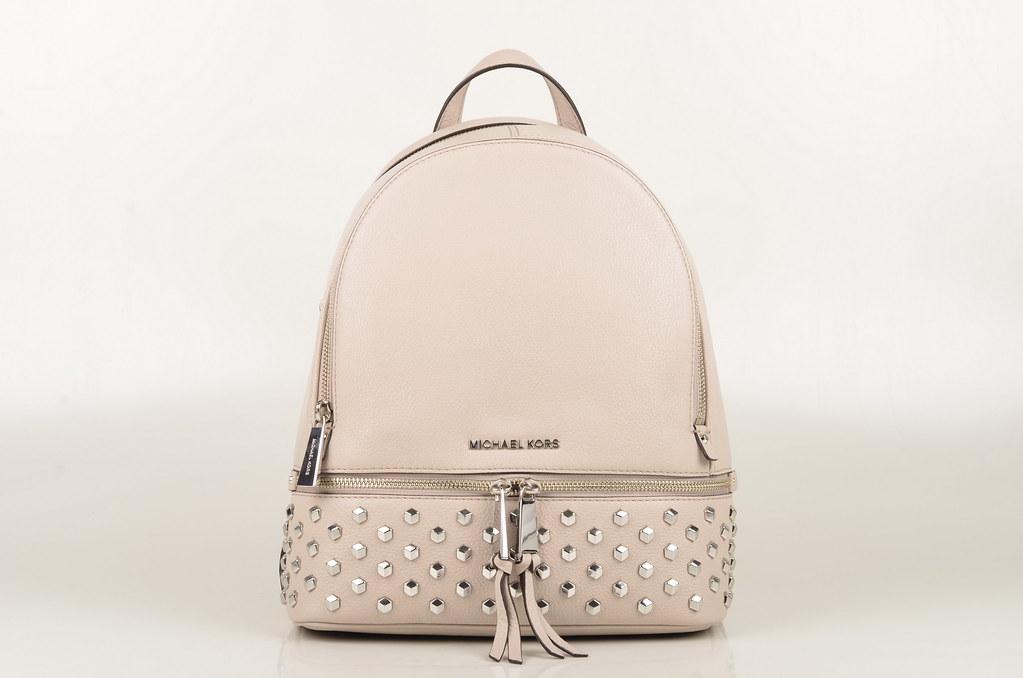 6f225084812e48 ... Michael Kors Rhea Zip FCTSTD MD Backpack / Rucksack Kalbsleder grau  beige (cement) (