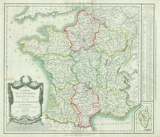 Carte de la République française divisée par régions, départements et districts