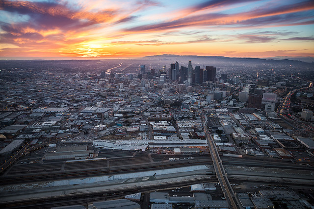 Heli Sunset DTLA