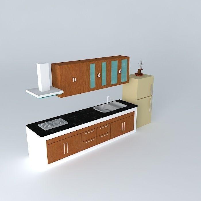 New Model Kitchen: Kitchen Interior Free 3D Model .max .obj .3ds .fbx .stl .d