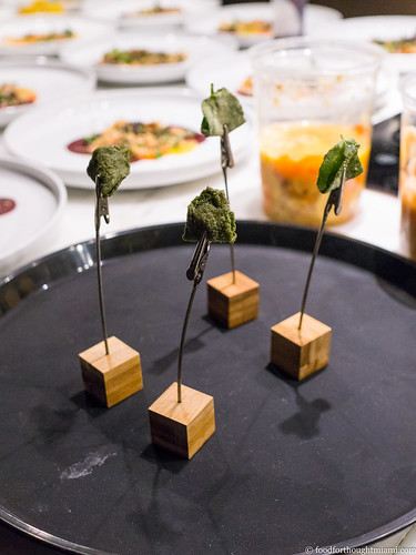 mojito (candied mint leaf with kaffir lime, sorbitol, lactose, citric acid, sodium citrate with rum gel) | by frodnesor