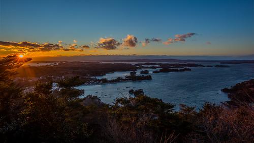 winter matsushima landscape sunset seashore islands miyagi sea pinetrees seascape tokyo evening japan clouds 東松島市 宮城県 日本 jp