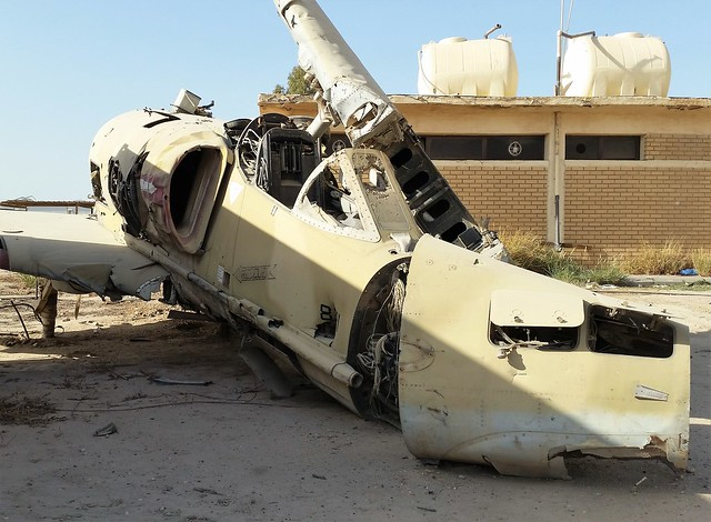 A-4KU Skyhawk 821 ex 9Sq Kuwait Air-Force/ KAF. Wreckage/ Dumped with Kuwait Air-Force Museum. Al Mubarak/ Nawaf Ahmad Air-Base, Kuwait. 2016.