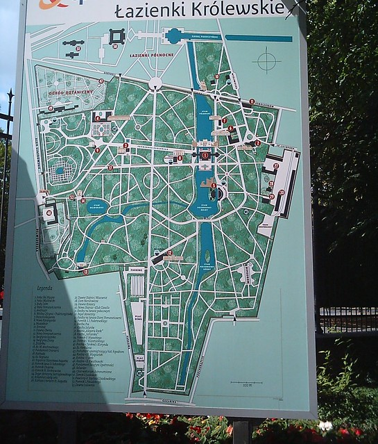 łazienki Map Of Lazienki Park Looking For Shadow On Th