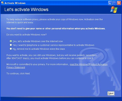Windows XP ActivationMust Activate Within 90473437 Days