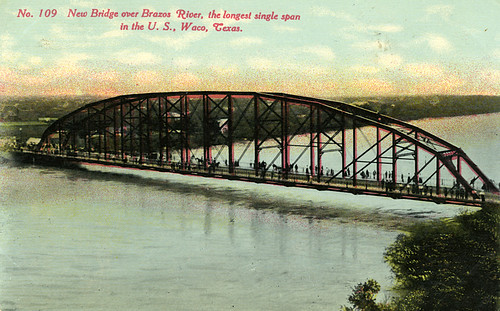 bridge river texas waco postcard bridges historic vintagepostcard steelbridge 200312 bridging washingtonavenue nationalregisterofhistoricplaces brazosriver nrhp bridgepixing bridgepix bridgeblog bridgephoto bridgepicture texasbridges texasescapes mclennancounty 98000143