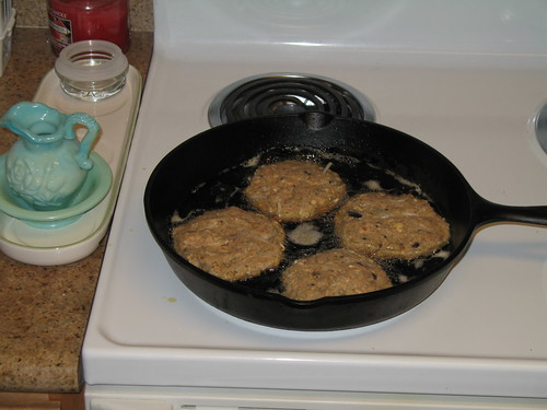 Cooking: Salmon, sprout and shroom patties   by Richard Masoner / Cyclelicious