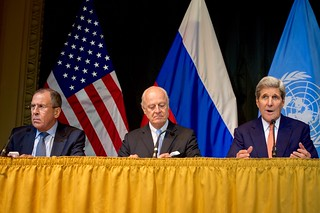 Secretary Kerry, Russian Foreign Minister Lavrov, U.N. Special Envoy de Mistura Address News Conference Following Syria Talks in Austria
