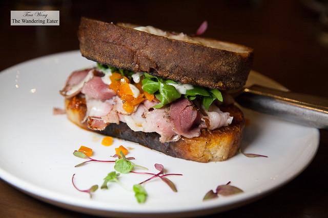 'Croque Signora' - Picnic ham, housemade 'nduja, kale, butternut squash mostarda, fried egg