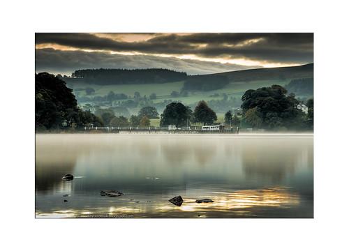 morning autumn england mist lake water sunrise dawn jetty lakedistrict landing cumbria steamer ullswater pooleybridge