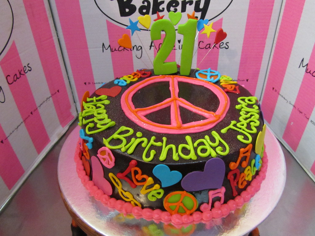 Enjoyable Hippie Themed 21St Birthday Cake With Large Piped Peace Si Flickr Personalised Birthday Cards Epsylily Jamesorg