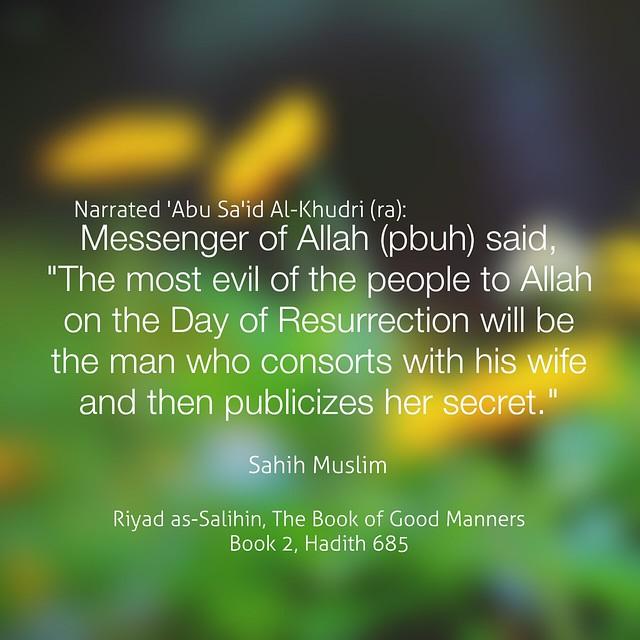 Riyad as-Salihin, The Book of Good Manners Book 2, Hadith 685